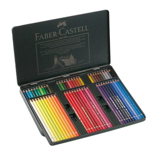 مداد رنگی پلی کروموس جعبه فلزی تخت 60 رنگ فابر کاستل Faber Castell 60 Colour Pencil Polychromos |