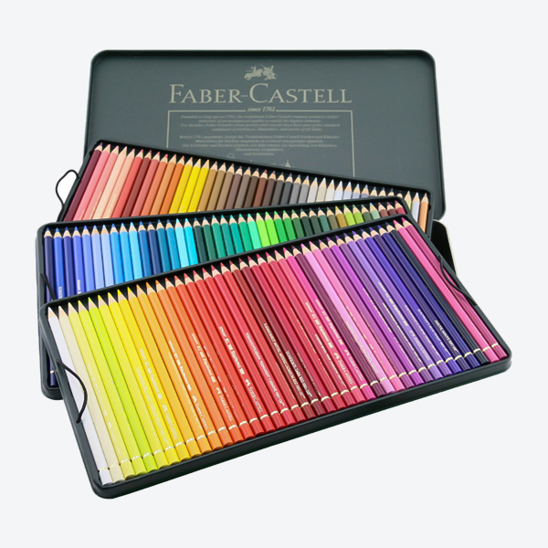 مداد رنگی شش وجهی پلی کروموس جعبه فلزی 120 رنگ همراه با سی دی فابر کاستل Faber Castell 120 Colour Pencils Polychromos + CD |