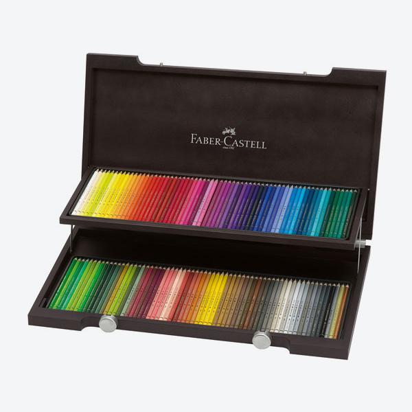 مداد رنگی پلی کروموس جعبه چوبی ونگه 120 رنگ فابر کاستل Faber Castell 120 Classic Colour Pencil |