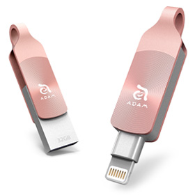 حافظه فلش موبایل/تبلت Adam Elements iKlips DUO+ Lightning/USB 3.1 Gen1 Dual Interface Flash Drive 32GB Rosy Bronze for iPhone/iPod/iPad