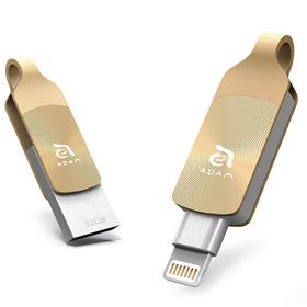 حافظه فلش موبایل/تبلت Adam Elements iKlips DUO+ Lightning/USB 3.1 Gen1 Dual Interface Flash Drive 32GB Glowing Amber for iPhone/iPod/iPad