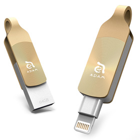 حافظه فلش موبایل/تبلت Adam Elements iKlips DUO+ Lightning/USB 3.1 Gen1 Dual Interface Flash Drive 64GB Glowing Amber for iPhone/iPod/iPad
