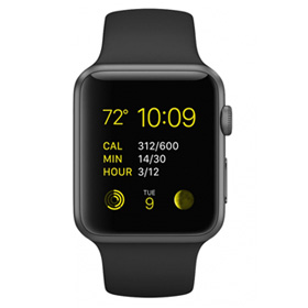 Apple Watch Sport 42mm Space Gray Aluminum Case with Black Sport Band MJ3T2