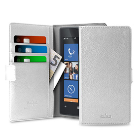 کیف تلفن همراه Puro Uni ECO-Leather Case 360° M White with 3 Card Slot and 2 Money Pocket
