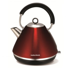 کتری برقی هرمی استیل 1.5 لیتر Morphy Richards Accents Traditional Kettle Stainless Steel Red 102004