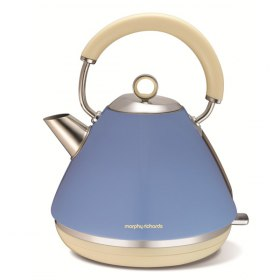 کتری برقی هرمی استیل 1.5 لیتر Morphy Richards Accents Traditional Kettle Stainless Steel Cornflower Blue 102010