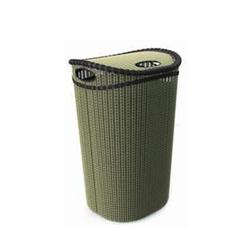 سطل رخت درب دار بیضی طرح حصیری بزرگ الوان 40x36x60 سانتیمتر پلاست آرت Plast LA-150