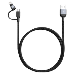 کابل تبدیل لایتینیگ یو اس بی سی و میکرو یو اس بی ادم المنتس Adam Elements PeAk II Trio 120B MFi Lightning Cable USB-C, Micro USB 1.2m Gray